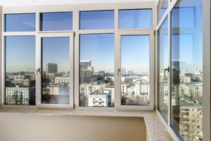 View to the city through new fiberglass windows
