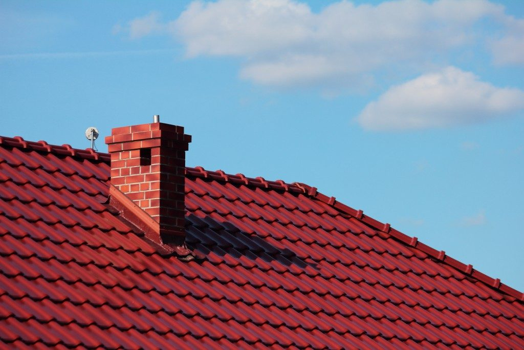 red roof with chimney