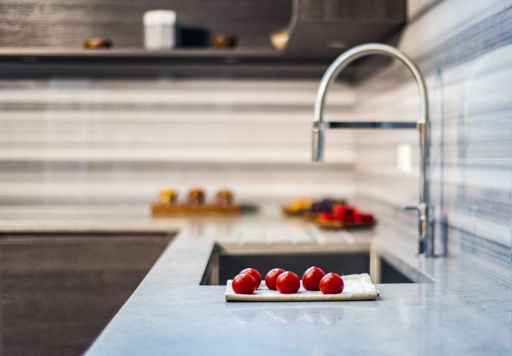 Granite countertop with faucet