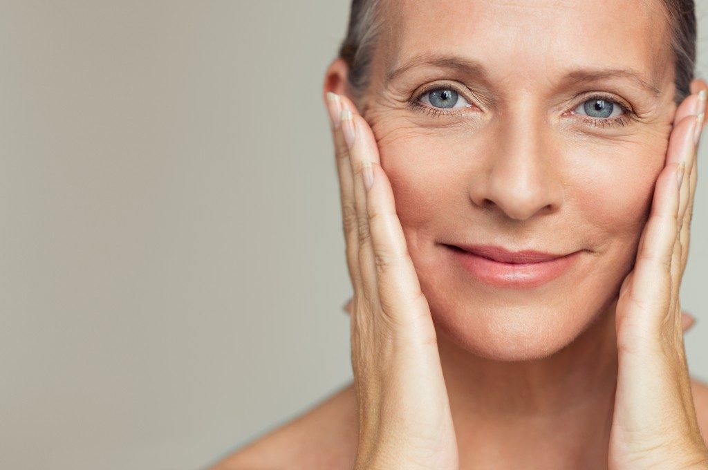Mature woman with facial wrinkles