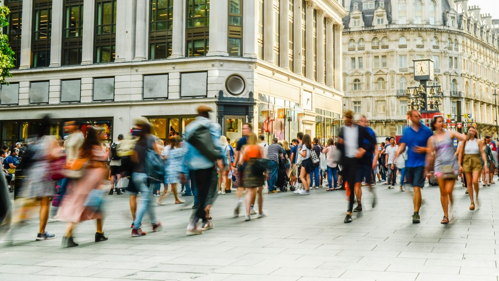 people strolling the city