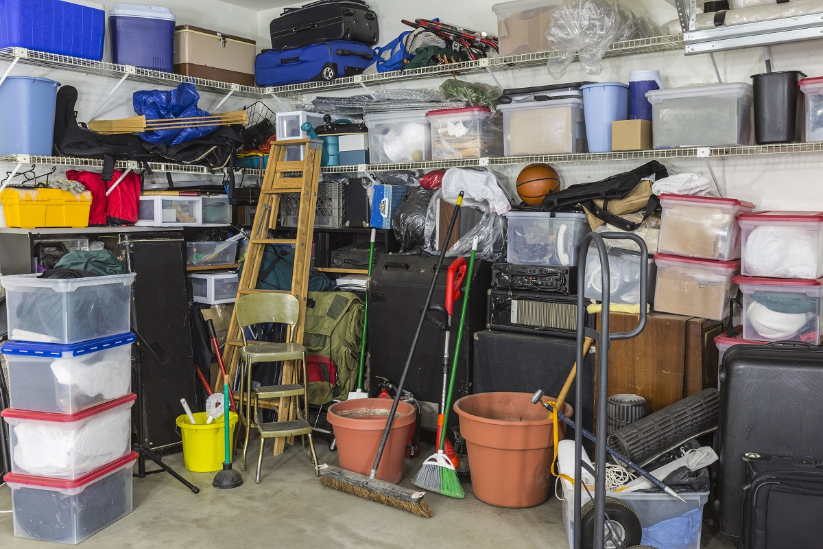 storage full of junk and clutter