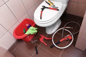 fixing the toilet