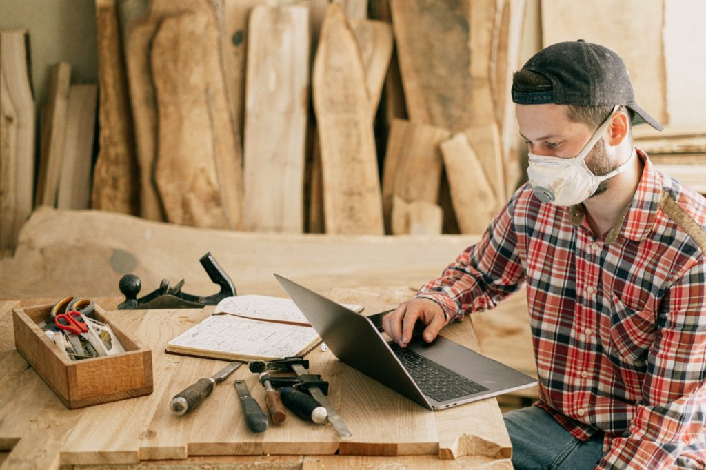man researching