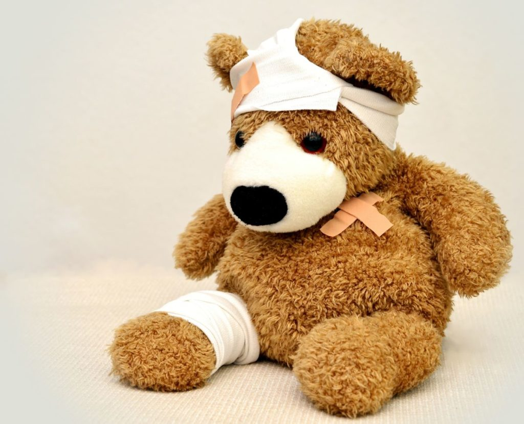 stuffed toy with bandages
