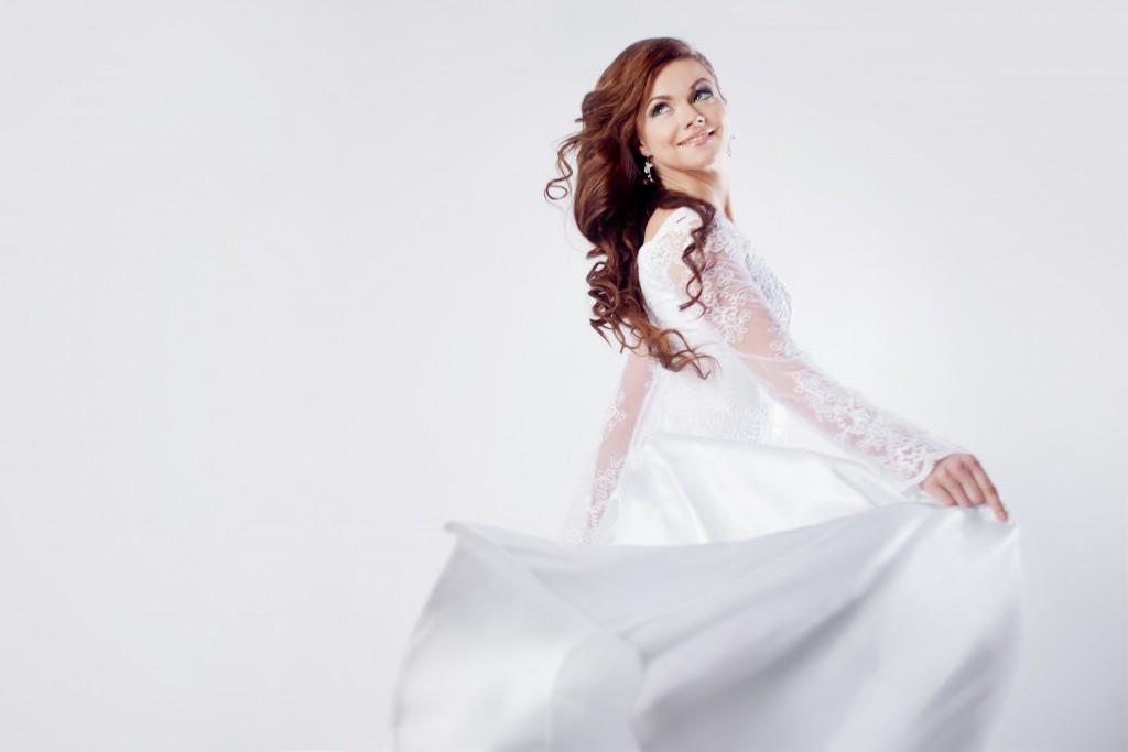 bride wearing her wedding gown