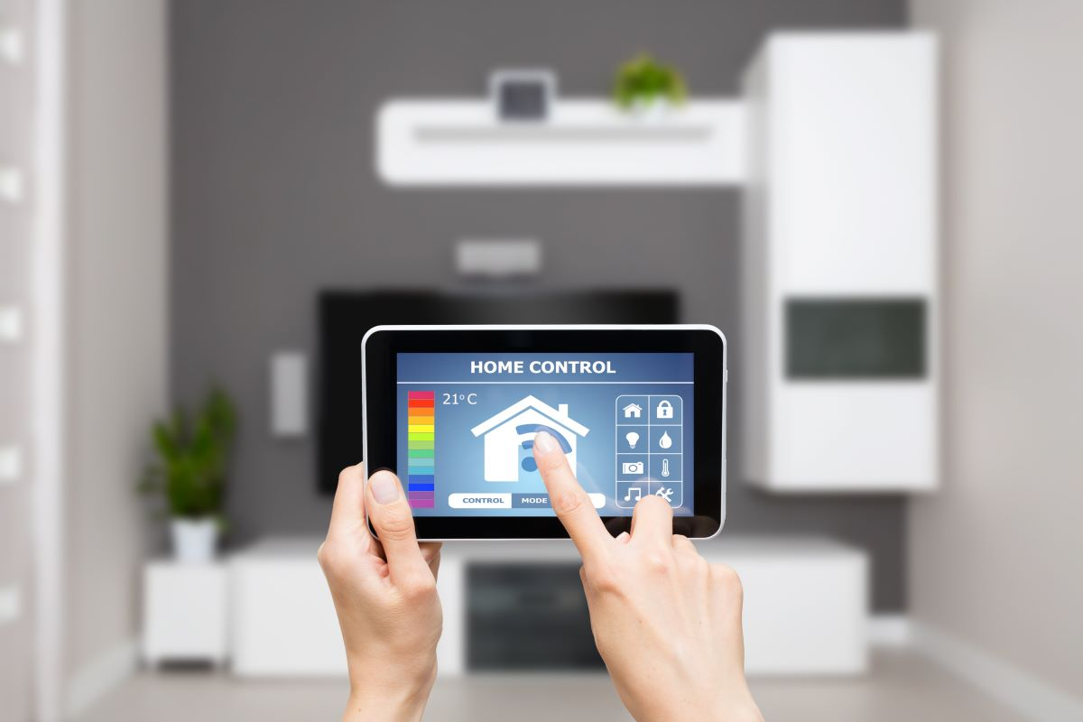 smart home remote control app on tablet