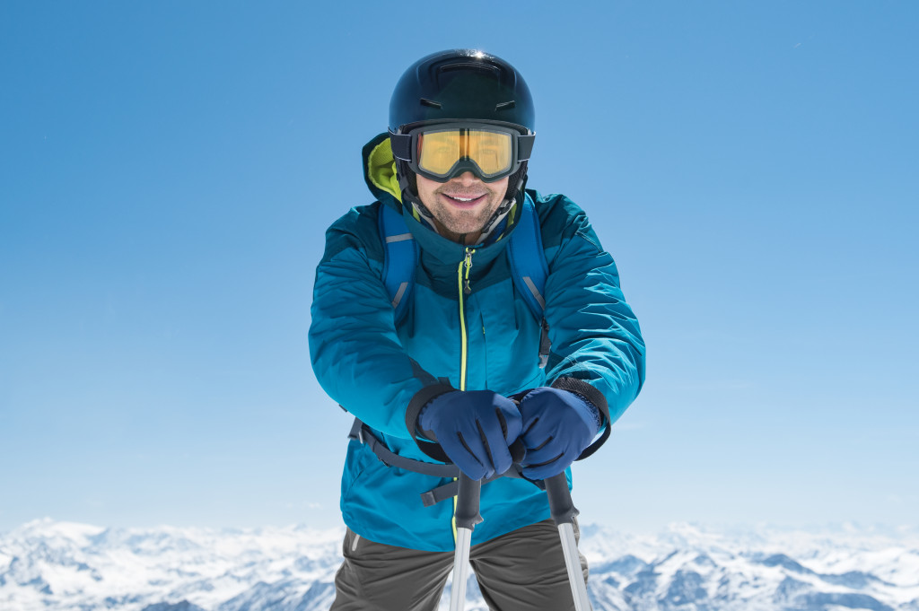 fully geared for winter skiing